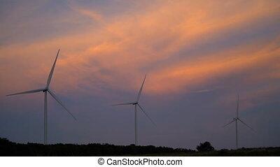 turbine, vent, concept., environnement, amical, farm., ...