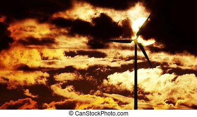 turbine, vent, levers de soleil, 4k