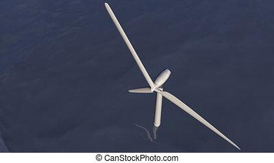 turbine, vent, océan, animé