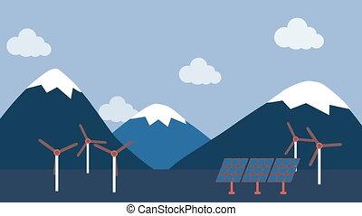 turbine, vent, panneau, campagne, solaire
