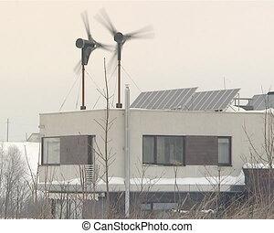 turbine, vent, panneau solaire