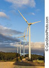 turbine vento, a, alba, 4