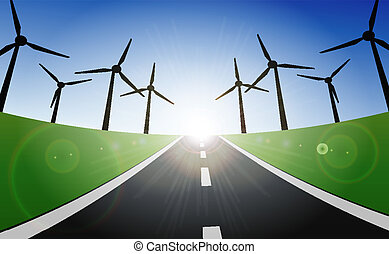 turbine, vento, paesaggio