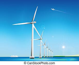turbine, vind, baggrund, natur