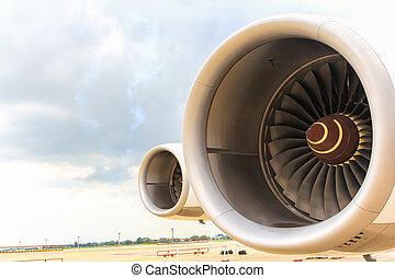 turbine, von, flugzeug- flügel, und, düsentriebwerk