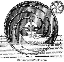Turbine wheel, vintage engraving.