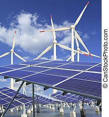 turbine, wind- energie, sonnenkollektoren, ausschüsse