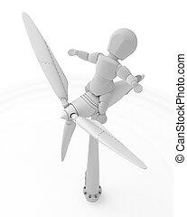 turbine, wind, mann