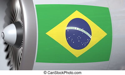 Turbine with flag of Brazil. Brazilian air transportation...