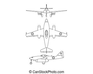 Turbine world war 2 airplane blueprint line vector illustration