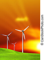 turbines, à, coucher soleil