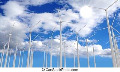 turbines, énergie, 3d, -, vent, renouvelable, animation, concept, 4k