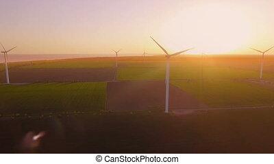 turbines., aérien, ferme, sur, voler, coucher soleil, enroulez énergie, renouvelable