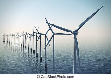 turbines, brumeux, day., pendant, flotter, vent, rang