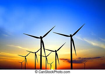 turbines, coucher soleil