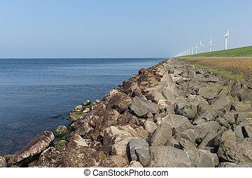 turbines, dijk, zee, hollandse, langs, wind