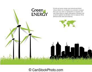 turbines, energia, kreatív, vektor, zöld, concept., felteker