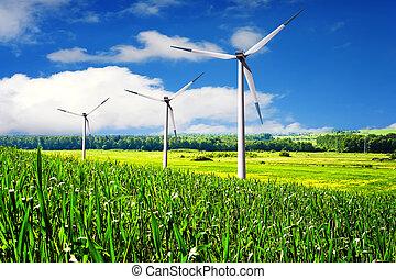 Turbines farm in summer