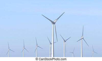 turbines, groupe, vent, têtes