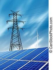 turbines, haar, met hoog voltage, zonne, toren, panelen, wind
