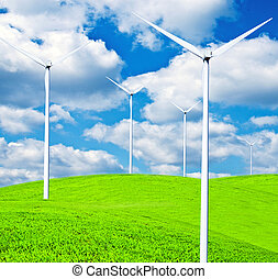 Turbines on landscape - Clean energy concept