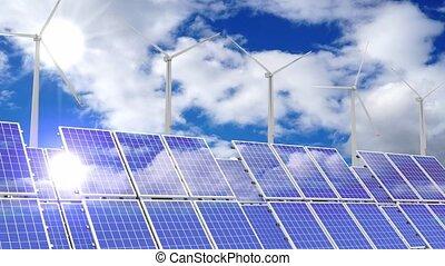 turbines, photovoltaïque, 3d, -, solar/, vent, animation, panneaux, 4k