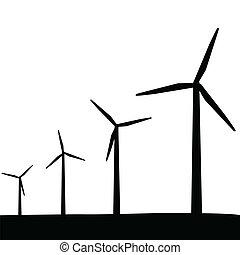 turbines, silhouette, wind