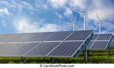 turbines, solaire, energy., vent, renouvelable, panneaux, ressources
