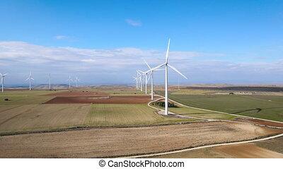 turbines, soutenable, ferme, développement, générer, énergie, vue, renouvelable, production., vent, propre, aérien, alimentez effets renouvellement