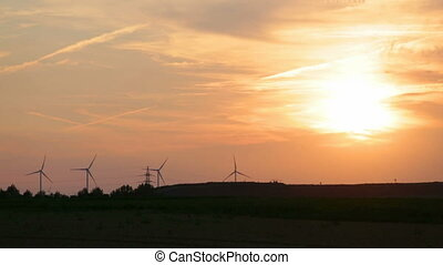 turbines, timelapse, coucher soleil, vent