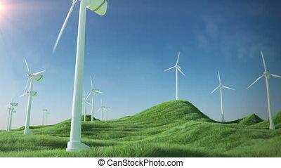 turbines, vent, boucle, vert, énergie