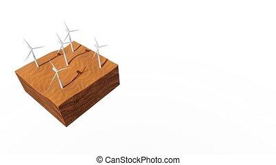 turbines, vent, fond, blanc, désert, sablonneux