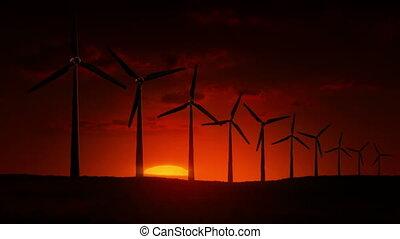 turbines, vent, levers de soleil