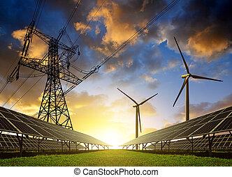 turbines, vent, panneaux, solaire