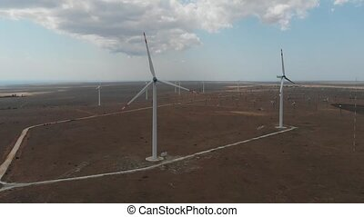 turbines., vert, enroulez énergie