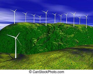turbines, wind, natuur