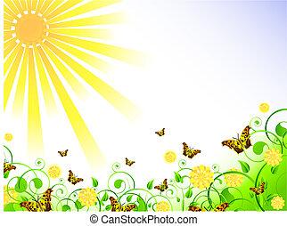turbini, primavera, illustrazione, tema, fogliame, sole, farfalla