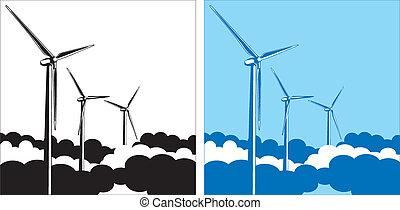 turbiny, chmury, wiatr