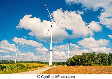 turbiny, na, pole, na, pochmurny, błękitne niebo