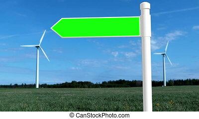 turbiny, zieleń biała, drogowskaz, wiatr