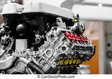 Turbo car engine close up