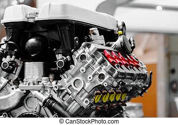 Turbo car engine close up