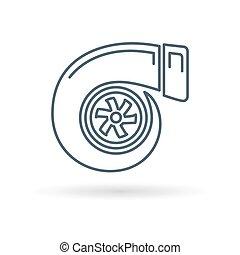 turbo, fond blanc, icône