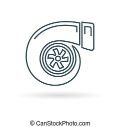 Turbo icon on white background - Vehicle performance turbo...
