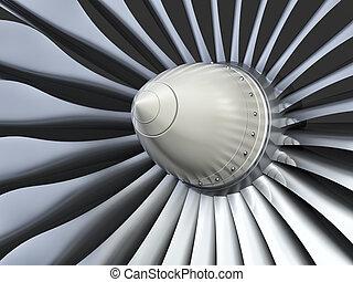 Turbo jet engine - Jet engine, turbine blades of airplane, ...