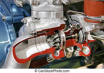 turbo, kompressor, kors sektion