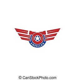 turbo logo with american flag emblem wing concept. modern template. simple and unique design.