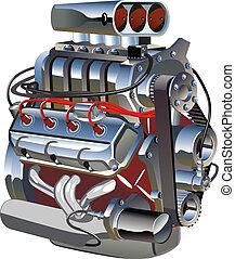 turbo, motor, spotprent