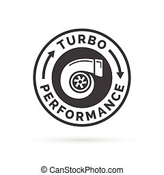Turbo performance icon badge with car turbocharger ...