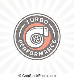 Turbo performance icon badge with car turbocharger compressor symbol. Vector illustration.